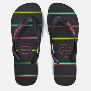 Havaianas Men's Top Stripes Logo Flip Flops - Black/Black/Red