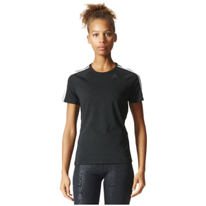 adidas Women's D2M 3 Stripe T-Shirt - Black