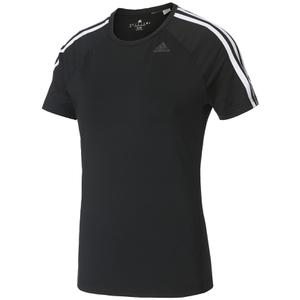adidas Women's D2M 3 Stripe T-Shirt - Black