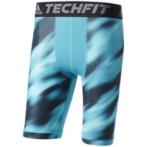 "adidas Men's TechFit Climachill 9"""" Compression Shorts - Energy Blue"