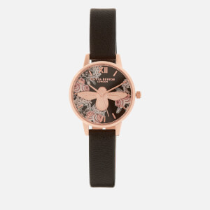 Olivia Burton Women's Moulded Bee Midi Dial Floral Watch - Black/Rose Gold