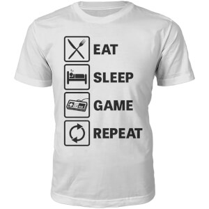 Eat Sleep Game Repeat Heren T-Shirt  - Wit