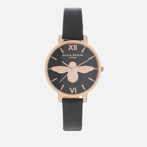 Olivia Burton Women's Big Moulded Bee Watch - Black Dial/Rose Gold