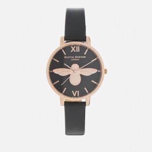 Olivia Burton Women's Big Moulded Bee Watch - Black Dial/Rose Gold