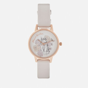 Olivia Burton Women's Animal Motif Cat Watch - Grey Lilac/Rose Gold