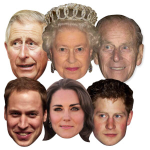 The Royal Family: The Queen, Prince Phillip, William, Harry, Kate and Charles Mask Pack - 6 Pack
