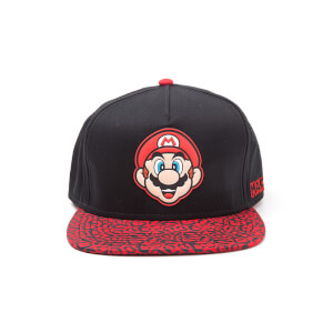 Nintendo Super Mario Mario Animal Print Cap - Black/Red