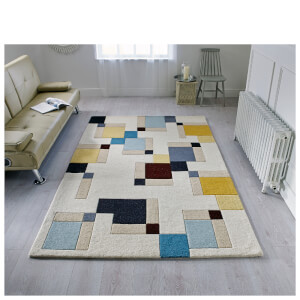 Flair Illusion Abstract Rug - Blocks Blue/Ochre