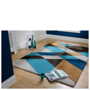 Flair Dapple Slant Rug - Teal/Ochre
