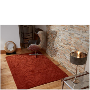 Flair Relief Paisley Rug - Terracotta