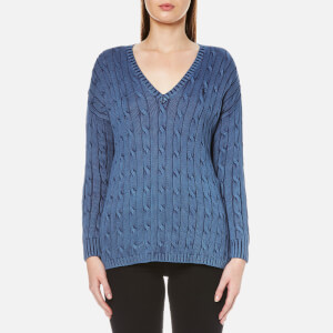 Polo Ralph Lauren Women's V-Neck Side Slit Jumper - Indigo