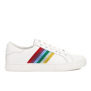 Marc Jacobs Women's Empire Strass Leather Low Top Trainers - White/Multi