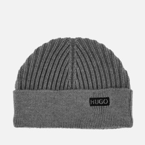 HUGO Men's Xianno Wool Knitted Beanie Hat - Grey