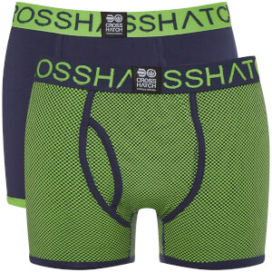 Crosshatch Men's 2 Pack Glowchex Boxer Shorts - Jasmine Green