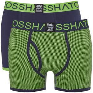 Pack de 2 bóxers Crosshatch Glowchex - Hombre - Verde/azul
