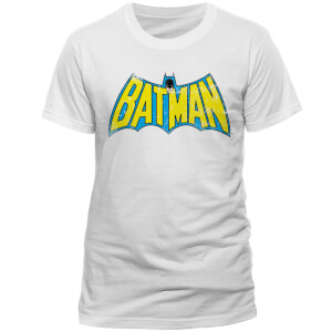 DC Comics Men's Batman Retro Logo T-Shirt - White