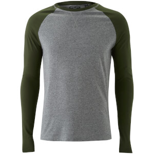 Brave Soul Men's Osbourne Raglan Long Sleeve Top - Mid Grey/Khaki