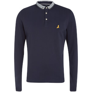 Brave Soul Men's Hatter Long Sleeve Polo Shirt - Navy