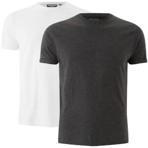 Brave Soul Men's 2 Pack Vardan T-Shirt - White/Dark Charcoal