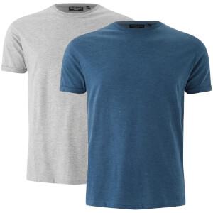 Brave Soul Men's 2 Pack Vardan T-Shirt - Light Grey Marl/Vintage Blue Marl