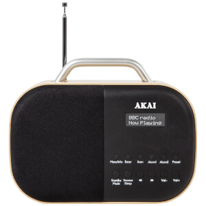 Akai Beech Wood DAB Radio with LCD Screen - Wood