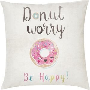 Donut Worry Cushion - White (45 x 45cm)