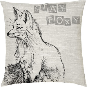 Stay Foxy Fox Cushion - Grey (45 x 45cm)