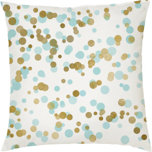 Confetti Print Cushion - Gold and Teal