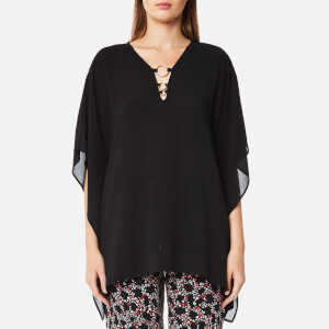 MICHAEL MICHAEL KORS Women's Ring Flutter Top - Black