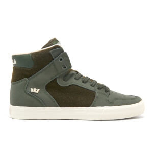 Supra Men's Vaider High Top Trainers - Dark Olive/White