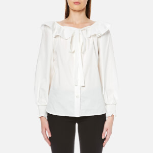 Marc Jacobs Women's Button Front Blouse with Ruffle - White