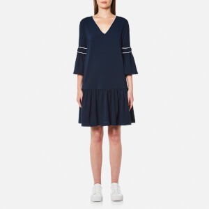 Ganni Women's Clark Flared Sleeve Dress - Total Eclipse