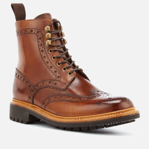 Grenson Men's Fred Hand Painted Leather Commando Sole Lace Up Boots - Tan: Image 2