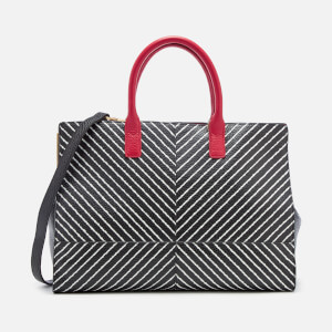 Lulu Guinness Women's Diagonal Stripes Daphne Tote Bag - Black/Chalk