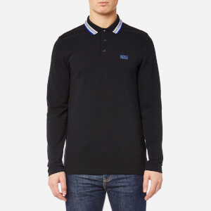 BOSS Green Men's Plisy Long Sleeve Polo Shirt - Black