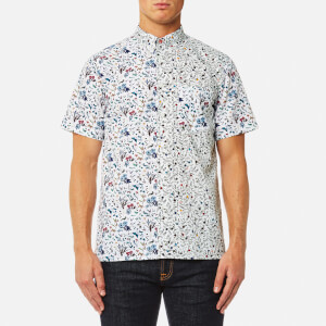 PS by Paul Smith Men's Cut Up Floral Short Sleeve Shirt - White