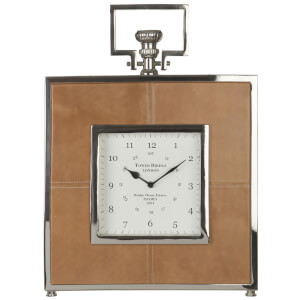 Fifty Five South Churchill Leather Mantle Clock - Tan