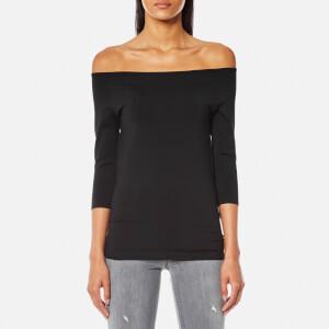 Helmut Lang Women's Off Shoulder Long Sleeve Top - Black