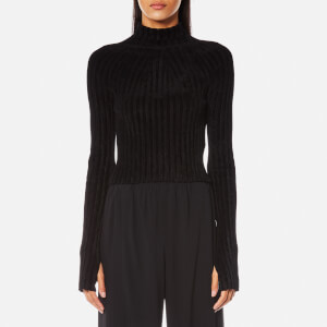 Helmut Lang Women's Velveteen Cropped Jumper - Black