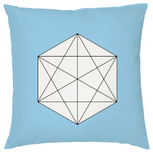 Geometric Hex Print Cushion - Blue
