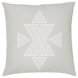 Geometric Triangle Print Cushion - Grey