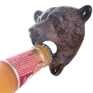 Grizzly Bear Wall Mounted Bottle Opener - Brown