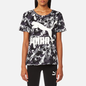 Puma Women's Archive Logo Short Sleeve T-Shirt - Puma Black AOP