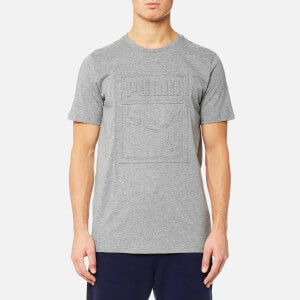 Puma Men's Archive Embossed Logo Short Sleeve T-Shirt - Medium Grey Heather