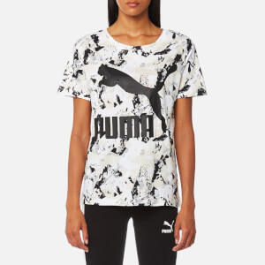 Puma Women's Archive Logo Short Sleeve T-Shirt - Marshmallow AOP
