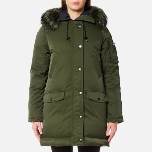 KENZO Women's Technical Outerwear Nylon Hooded Parka Coat - Dark Khaki