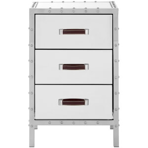 Rivet Three Drawer Bedside Cabinet - Stainless Steel/Mirrored Glass
