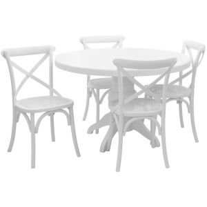 Vermont Five Piece Dining Set - White Wash