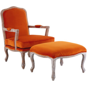 Rococo Chair with Footstool - Orange Velvet