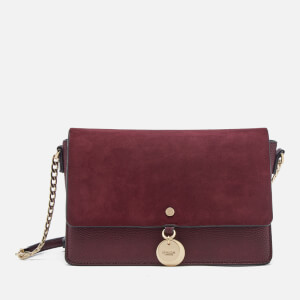 Dune Women's Evania Suede Flap Cross Body Bag - Berry